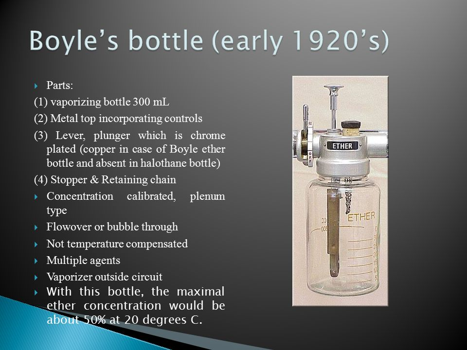  Parts: (1) vaporizing bottle 300 mL (2) Metal top incorporating controls (3) Lever, plunger which is chrome plated (copper in case of Boyle ether bo