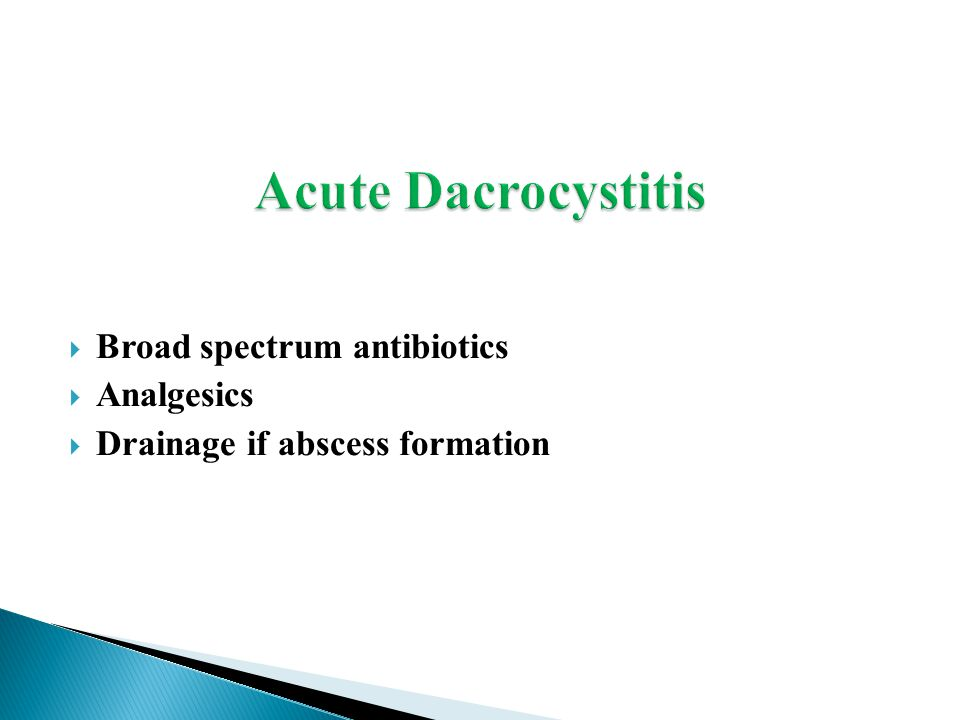  Broad spectrum antibiotics  Analgesics  Drainage if abscess formation