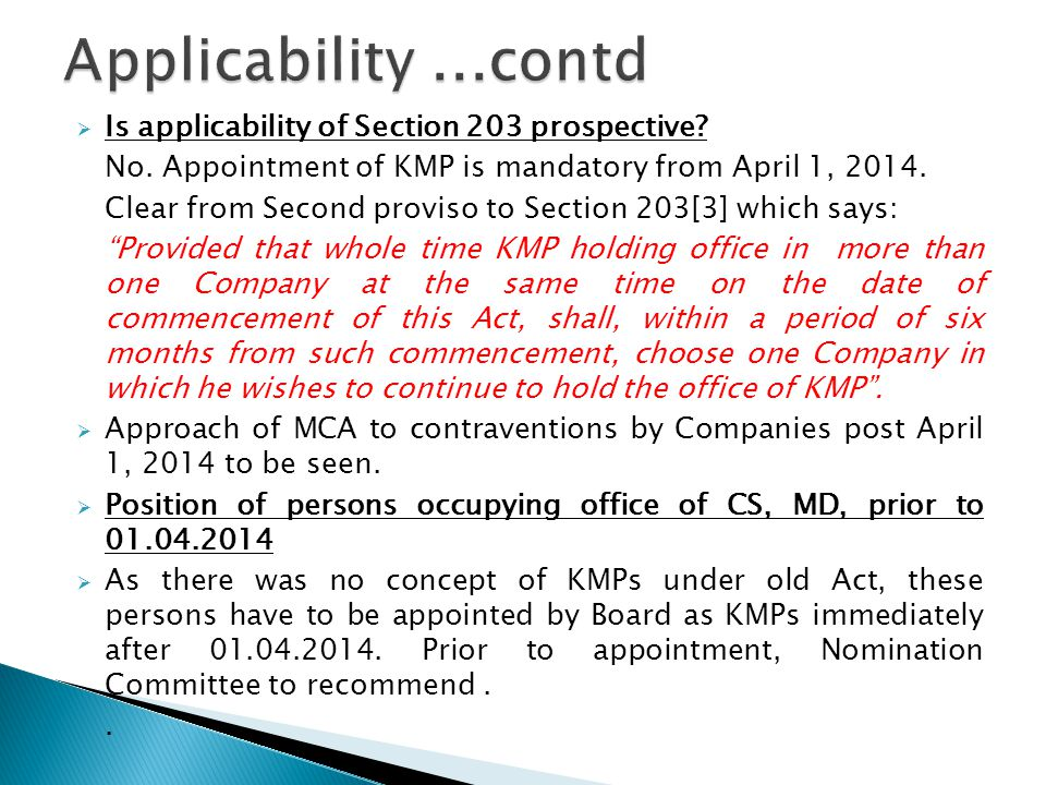  Is applicability of Section 203 prospective. No.