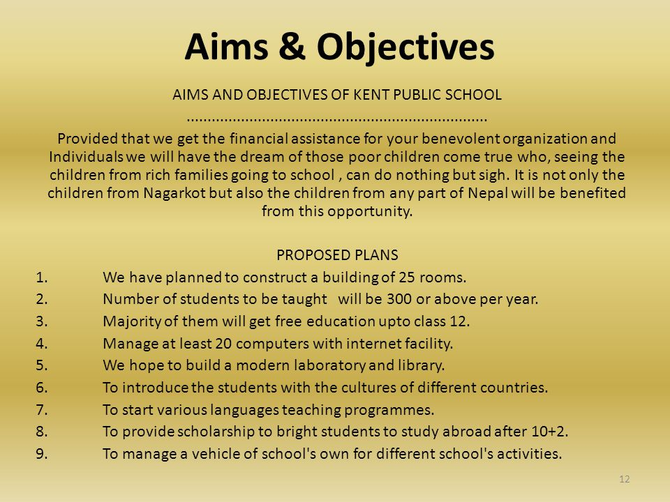 Aims & Objectives AIMS AND OBJECTIVES OF KENT PUBLIC SCHOOL........................................................................