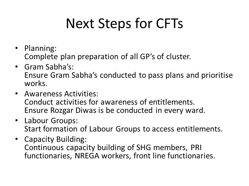 Next Steps for CFTs Planning: Complete plan preparation of all GP's of cluster. Gram Sabha's: Ensure Gram Sabha's conducted to pass plans and prioriti
