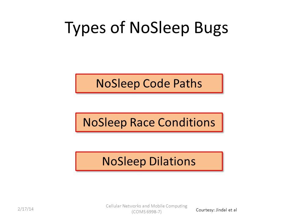 Types of NoSleep Bugs NoSleep Race Conditions NoSleep Code Paths NoSleep Dilations Cellular Networks and Mobile Computing (COMS 6998-7) Courtesy: Jindal et al 2/17/14