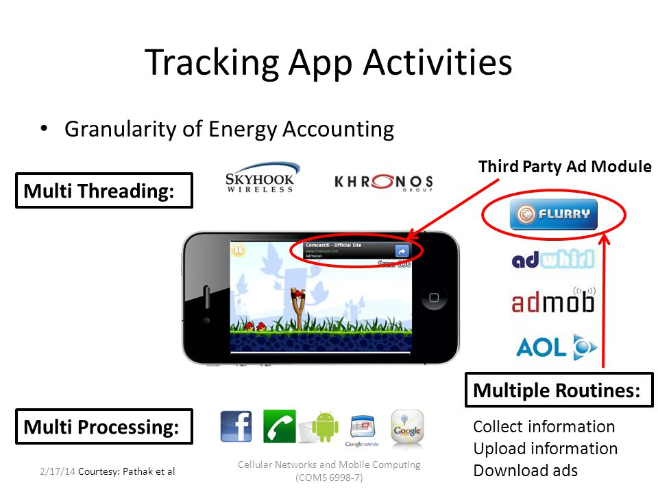 Tracking App Activities Granularity of Energy Accounting – eprof supports per Process/Thread/Routine granularity I/O Devices – Track system call to program entity Process – getpid() Thread – gettid() Routine – backtrace() CPU – Just like gprof [PLDI '82] – Periodic sampling of routine call stack Cellular Networks and Mobile Computing (COMS 6998-7) Courtesy: Pathak et al 2/17/14