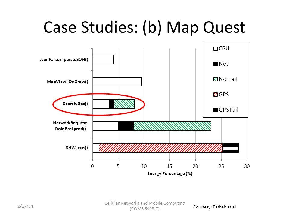 Case Studies: (b) Map Quest Cellular Networks and Mobile Computing (COMS 6998-7) Courtesy: Pathak et al 2/17/14