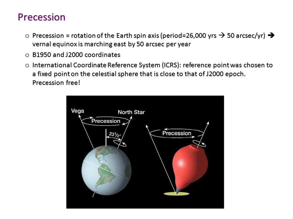 Precession o Precession = rotation of the Earth spin axis (period=26,000 yrs  50 arcsec/yr)  vernal equinox is marching east by 50 arcsec per year o B1950 and J2000 coordinates o International Coordinate Reference System (ICRS): reference point was chosen to a fixed point on the celestial sphere that is close to that of J2000 epoch.