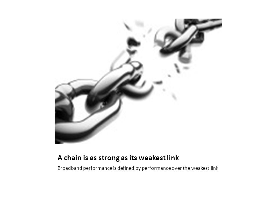 A chain is as strong as its weakest link Broadband performance is defined by performance over the weakest link