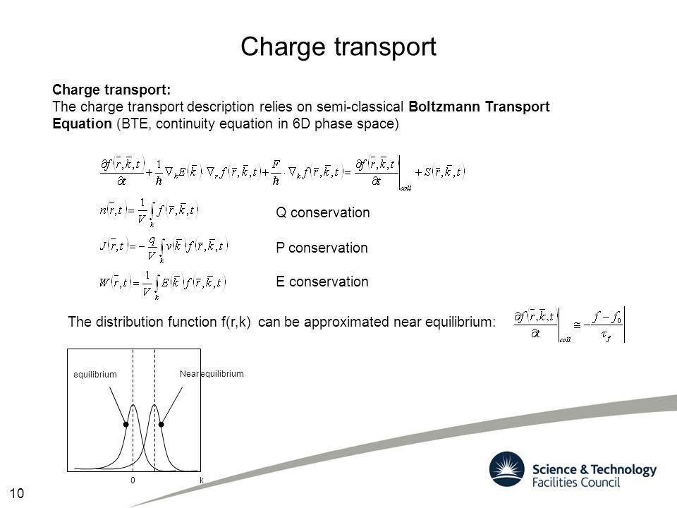 Charge transport Charge transport: The charge transport description relies on semi-classical Boltzmann Transport Equation (BTE, continuity equation in
