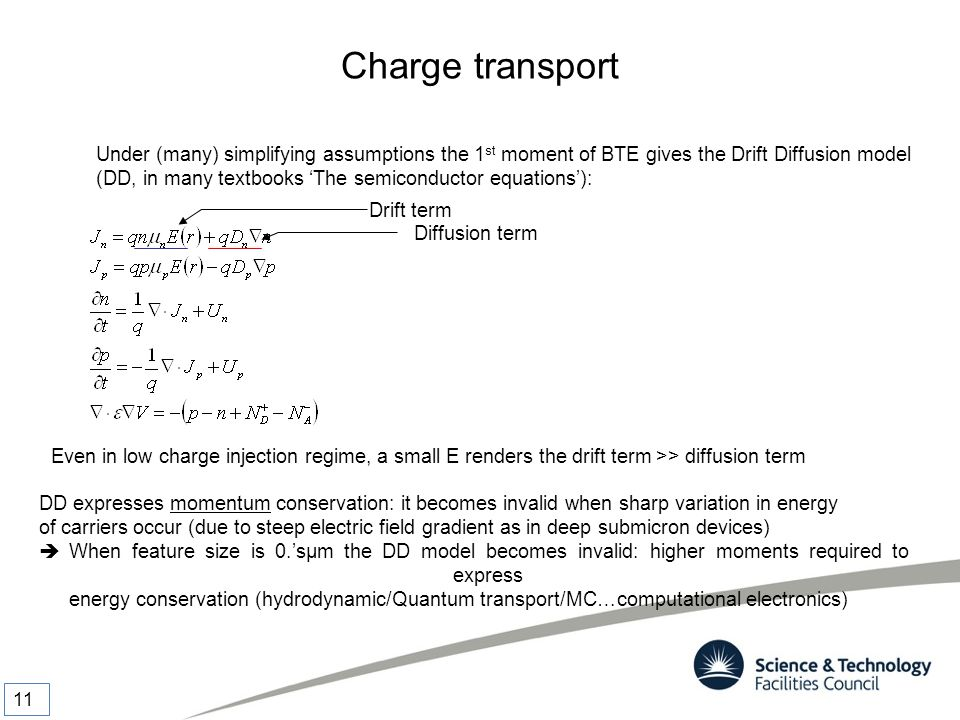 Charge transport Under (many) simplifying assumptions the 1 st moment of BTE gives the Drift Diffusion model (DD, in many textbooks 'The semiconductor
