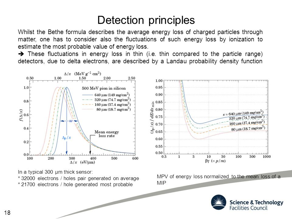 Detection principles Whilst the Bethe formula describes the average energy loss of charged particles through matter, one has to consider also the fluc