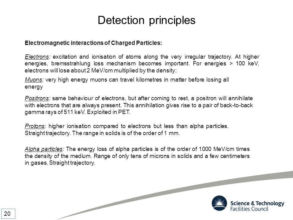 Detection principles Electromagnetic interactions of Charged Particles: Electrons: excitation and ionisation of atoms along the very irregular traject