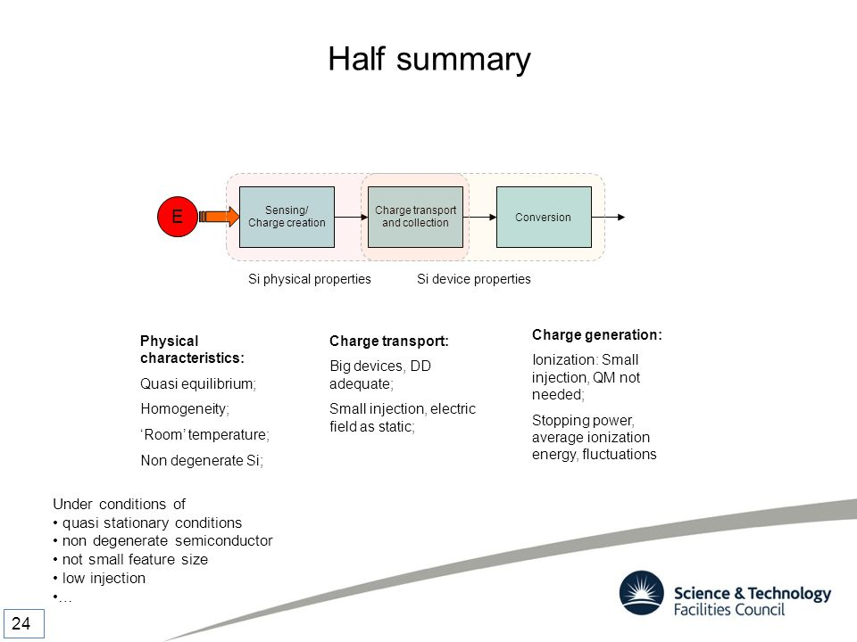Half summary Under conditions of quasi stationary conditions non degenerate semiconductor not small feature size low injection … Sensing/ Charge creat