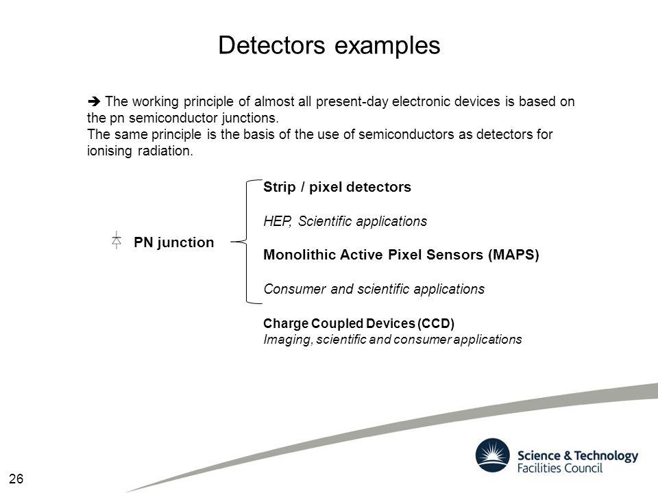 Detectors examples Strip / pixel detectors HEP, Scientific applications Monolithic Active Pixel Sensors (MAPS) Consumer and scientific applications 26