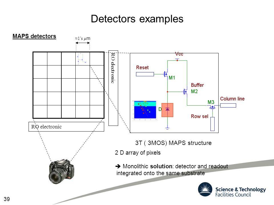 Detectors examples RO electronic 3T ( 3MOS) MAPS structure ≈1's  m RO electronic MAPS detectors 39 2 D array of pixels  Monolithic solution: detecto