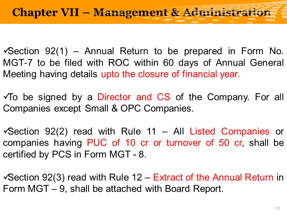 Section 92(1) – Annual Return to be prepared in Form No.