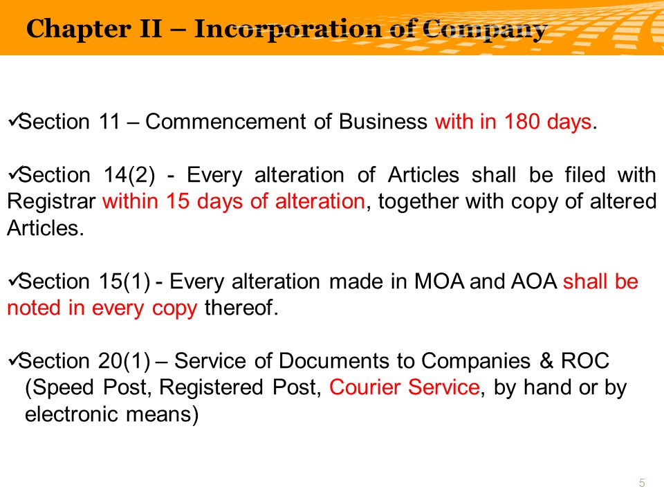 Section 11 – Commencement of Business with in 180 days.