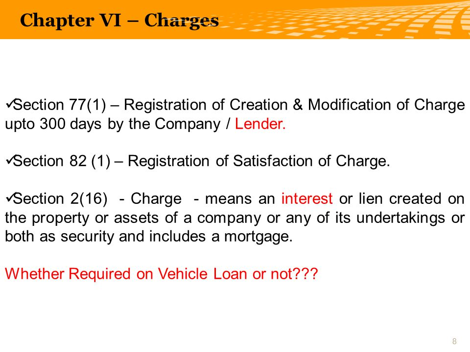 Section 77(1) – Registration of Creation & Modification of Charge upto 300 days by the Company / Lender.
