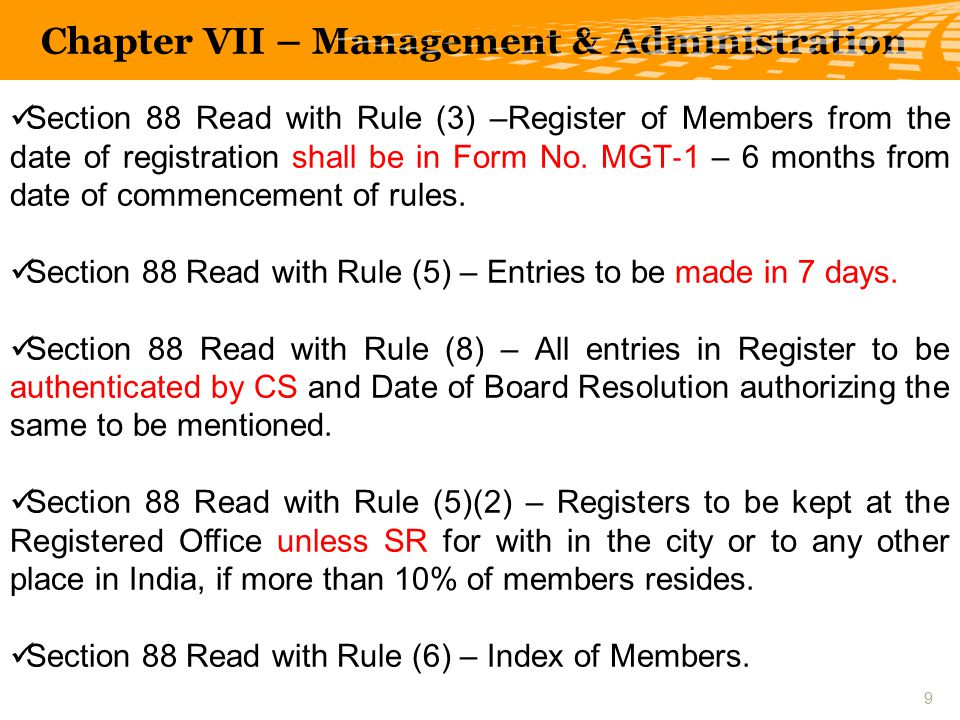 Section 88 Read with Rule (3) –Register of Members from the date of registration shall be in Form No.