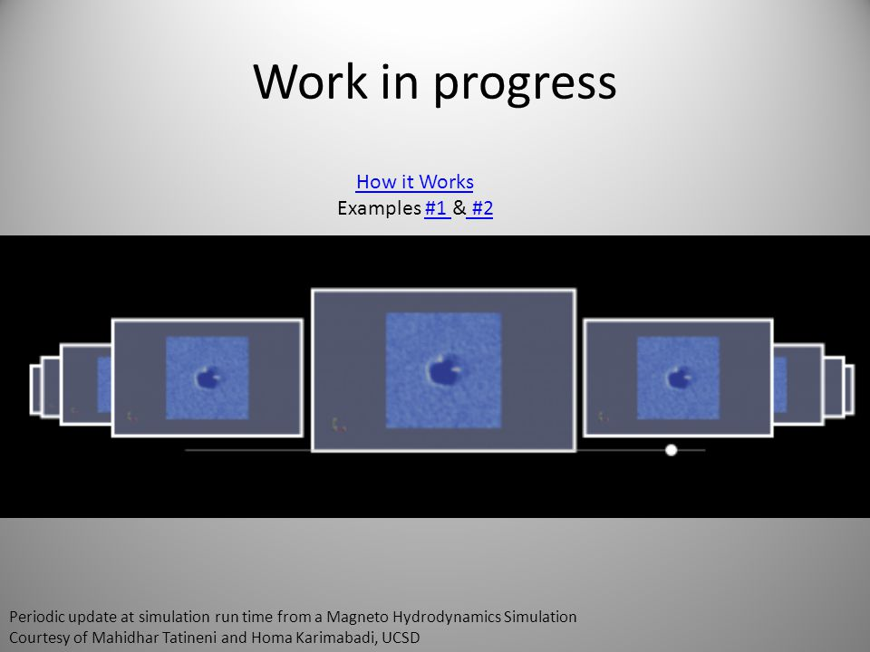 Work in progress How it Works Examples #1 & #2#1 #2 Periodic update at simulation run time from a Magneto Hydrodynamics Simulation Courtesy of Mahidhar Tatineni and Homa Karimabadi, UCSD