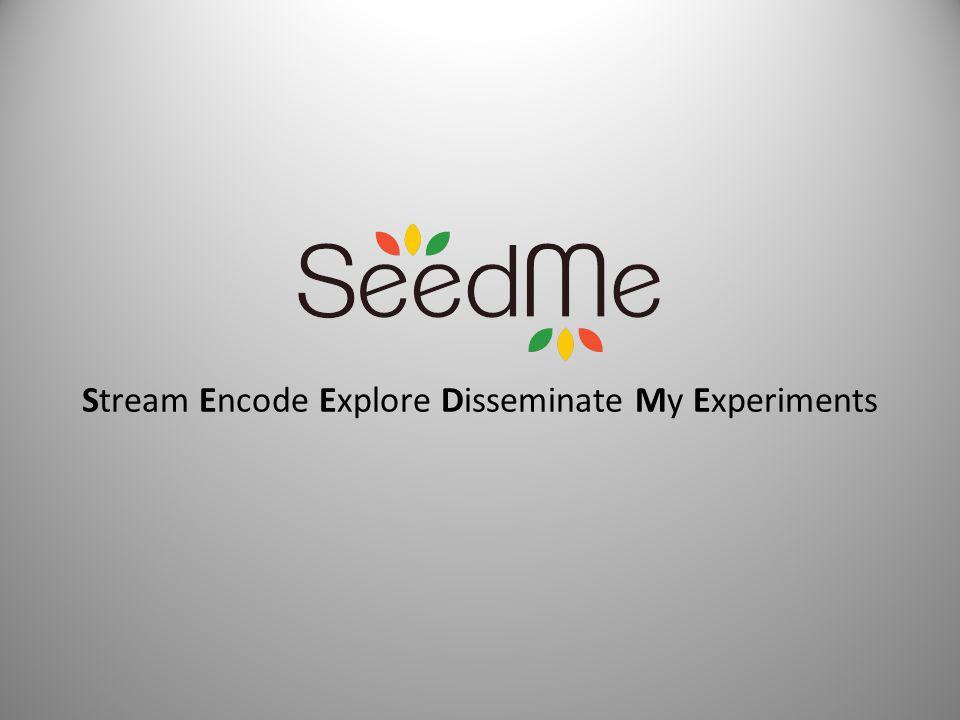 Stream Encode Explore Disseminate My Experiments