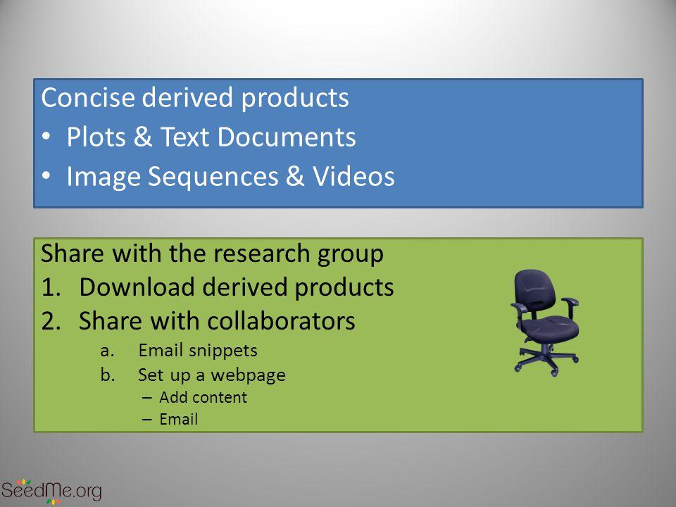 Content Videos Permissions Plot Files Doc Files Authentication Text Ticker Image Sequences Meta Data { email : jdoe@sdsc.edu , api_key : XXXXXXXXXXX , view_permission : public , viewer_emails : [ a1@a.com , b1@b.com ], title : simulation XYZ , description : input conditions , credits : Visservices group, SDSC , key_values : { key1 : v1 , key2 : v2 }, expire_date : 2013-05-01 , tags : [ x , y , z ], ticker : [ time step 100 , time step 200 ], files :{ docs : [ a.pdf , b.txt ], plots : [ a.png , b.jpg , c.tiff ], image_sequences : { ash : [ ash1.jpg , ash2.jpg , ash3.jpg ], air : [ air1.jpg , air2.jpg , air3.jpg ] }, movies : [ m1.mov , m2.mov »] }