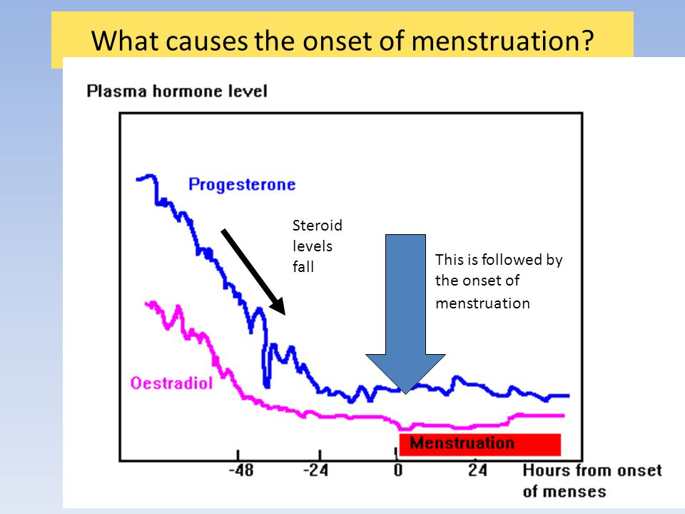 What causes the onset of menstruation.