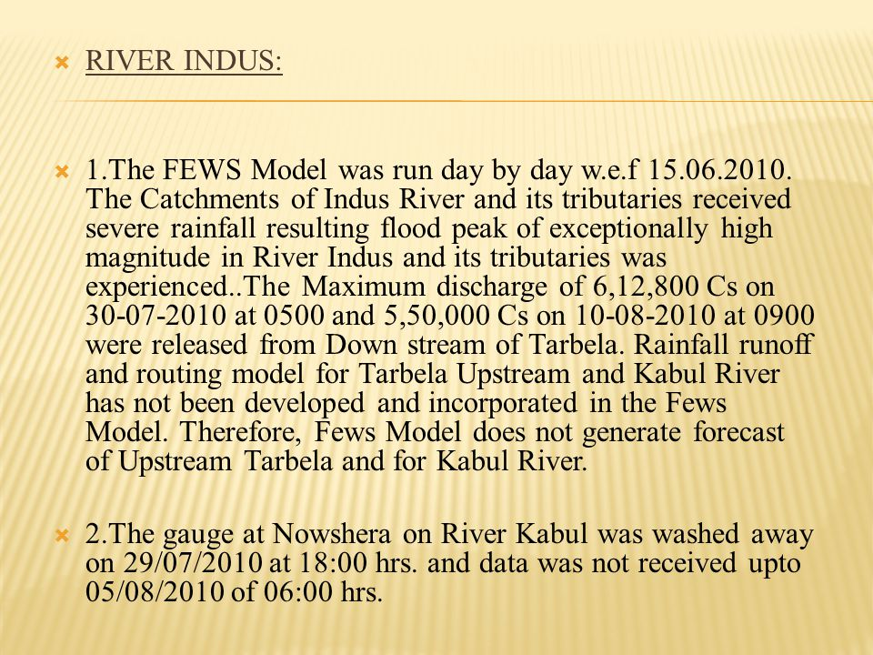 COMPARISON OF FEWS Model & ACTUAL IN CURRENT FLOOD SEASON