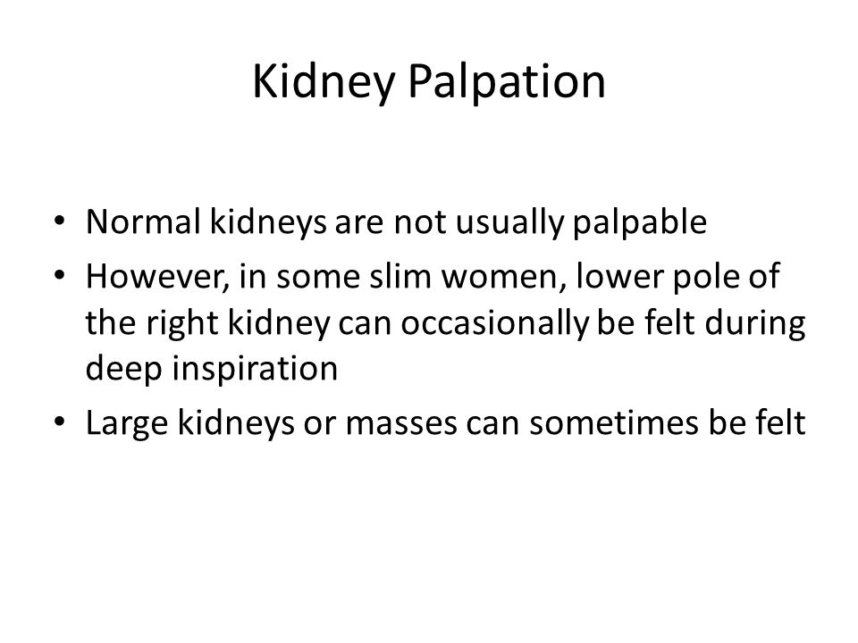 Kidney Palpation Normal kidneys are not usually palpable However, in some slim women, lower pole of the right kidney can occasionally be felt during d