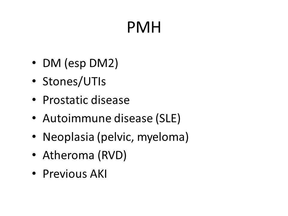 PMH DM (esp DM2) Stones/UTIs Prostatic disease Autoimmune disease (SLE) Neoplasia (pelvic, myeloma) Atheroma (RVD) Previous AKI