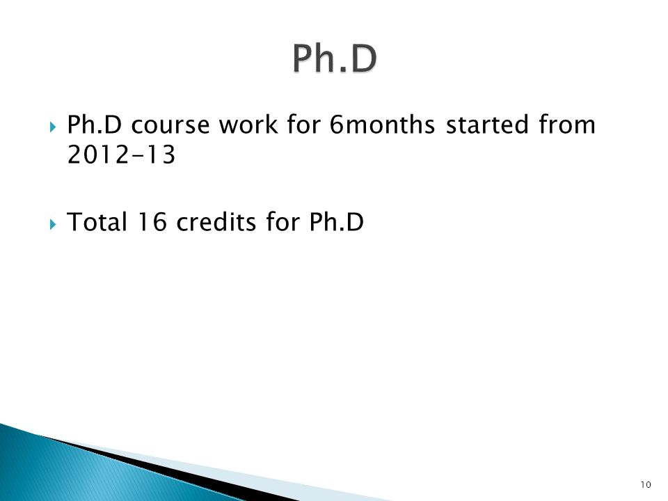  Ph.D course work for 6months started from 2012-13  Total 16 credits for Ph.D 10