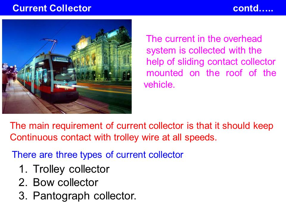 Current Collector contd….. The current in the overhead system is collected with the help of sliding contact collector mounted on the roof of the vehic
