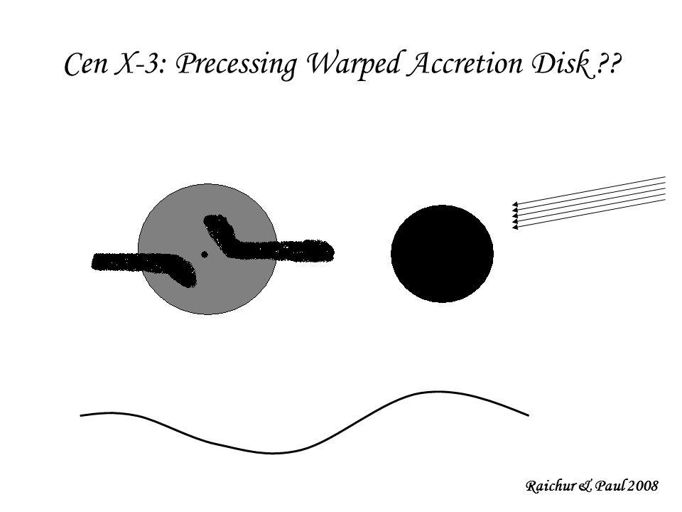 Cen X-3: Precessing Warped Accretion Disk Raichur & Paul 2008
