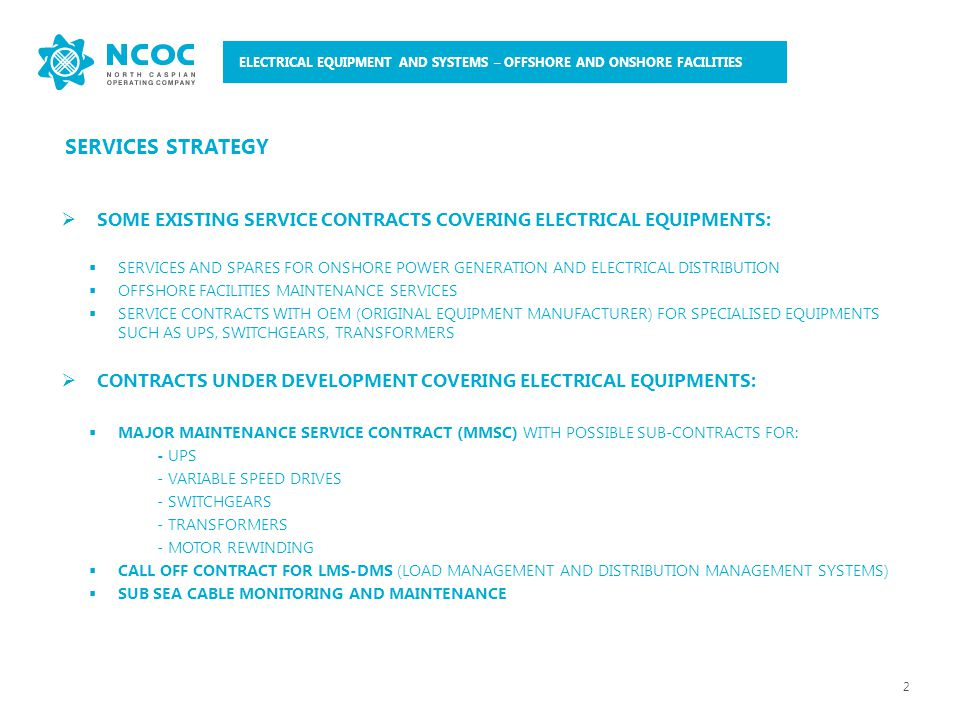 400 V Switchgear 110 kV outdoor switchgear 3 ELECTRICAL EQUIPMENT AND SYSTEMS – OFFSHORE AND ONSHORE FACILITIES
