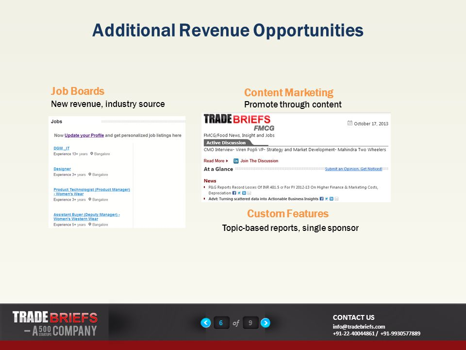 6of9 CONTACT US info@tradebriefs.com +91-22-40044861 / +91-9930577889 New revenue, industry source Additional Revenue Opportunities Job Boards Custom Features Promote through content Content Marketing Topic-based reports, single sponsor