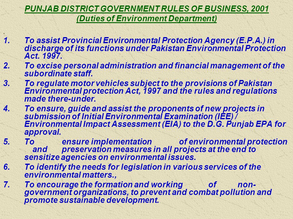 PUNJAB DISTRICT GOVERNMENT RULES OF BUSINESS, 2001 (Duties of Environment Department).