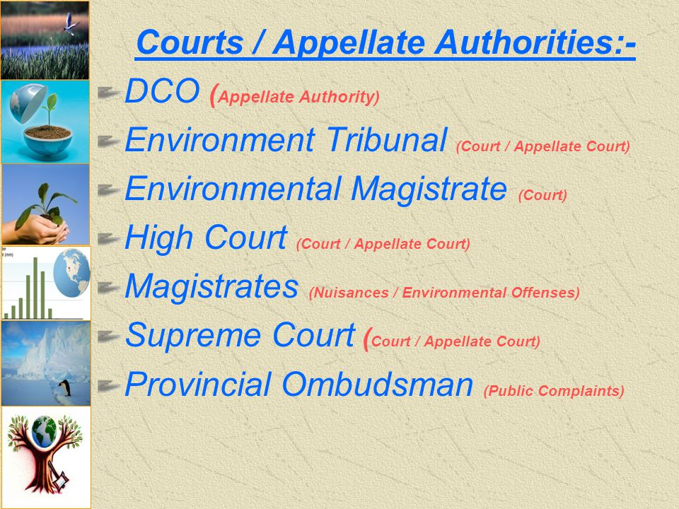 Courts / Appellate Authorities:- DCO ( Appellate Authority) Environment Tribunal (Court / Appellate Court) Environmental Magistrate (Court) High Court (Court / Appellate Court) Magistrates (Nuisances / Environmental Offenses) Supreme Court ( Court / Appellate Court) Provincial Ombudsman (Public Complaints)