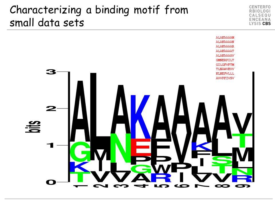 Characterizing a binding motif from small data sets ALAKAAAAM ALAKAAAAN ALAKAAAAR ALAKAAAAT ALAKAAAAV GMNERPILT GILGFVFTM TLNAWVKVV KLNEPVLLL AVVPFIVSV