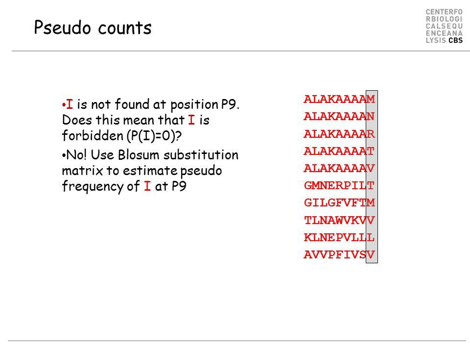 Pseudo counts ALAKAAAAM ALAKAAAAN ALAKAAAAR ALAKAAAAT ALAKAAAAV GMNERPILT GILGFVFTM TLNAWVKVV KLNEPVLLL AVVPFIVSV I is not found at position P9.