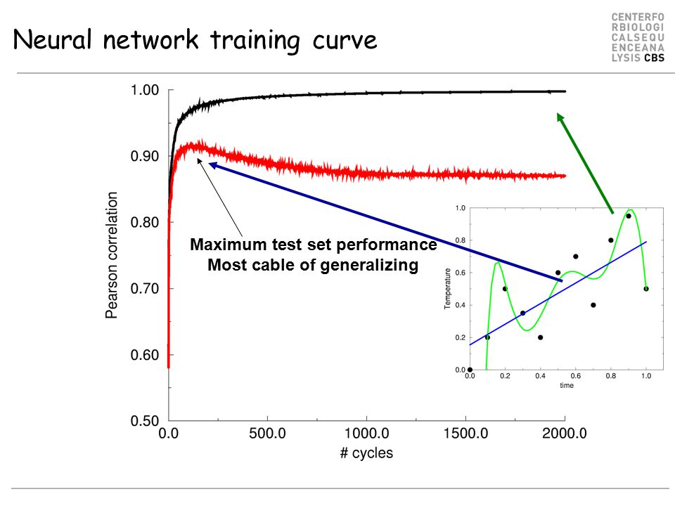 Neural network training curve Maximum test set performance Most cable of generalizing