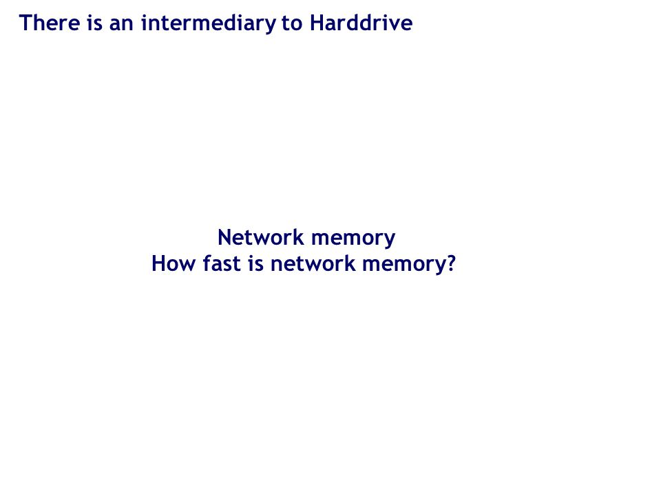 There is an intermediary to Harddrive Network memory How fast is network memory