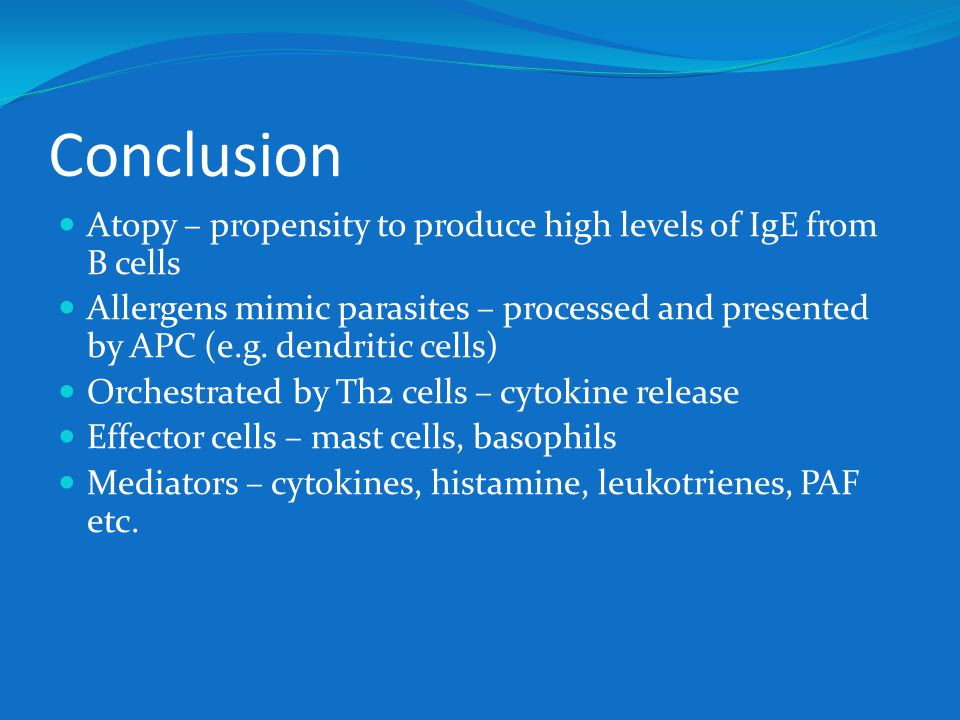 Conclusion Atopy – propensity to produce high levels of IgE from B cells Allergens mimic parasites – processed and presented by APC (e.g. dendritic ce