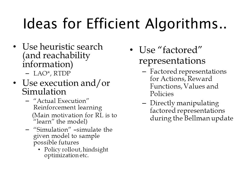 Ideas for Efficient Algorithms..