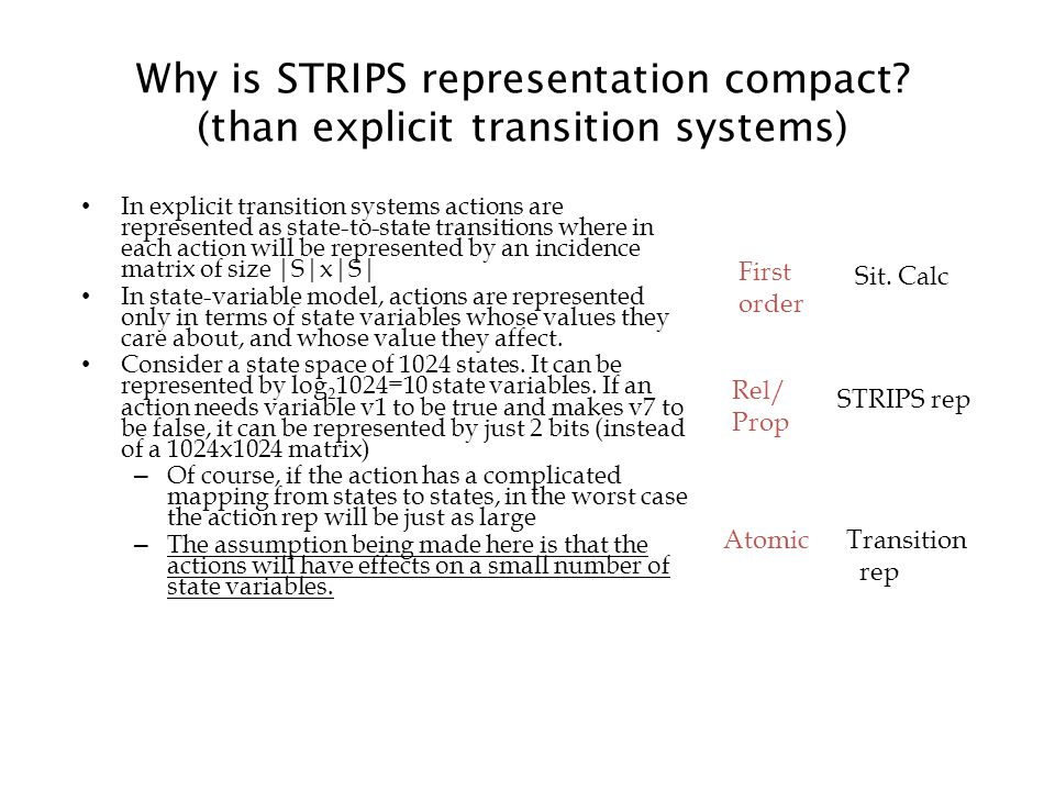 Why is STRIPS representation compact.
