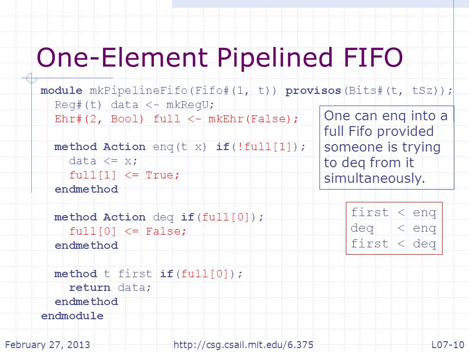 One-Element Pipelined FIFO module mkPipelineFifo(Fifo#(1, t)) provisos(Bits#(t, tSz)); Reg#(t) data <- mkRegU; Ehr#(2, Bool) full <- mkEhr(False); method Action enq(t x) if(!full[1]); data <= x; full[1] <= True; endmethod method Action deq if(full[0]); full[0] <= False; endmethod method t first if(full[0]); return data; endmethod endmodule first < enq deq < enq first < deq One can enq into a full Fifo provided someone is trying to deq from it simultaneously.