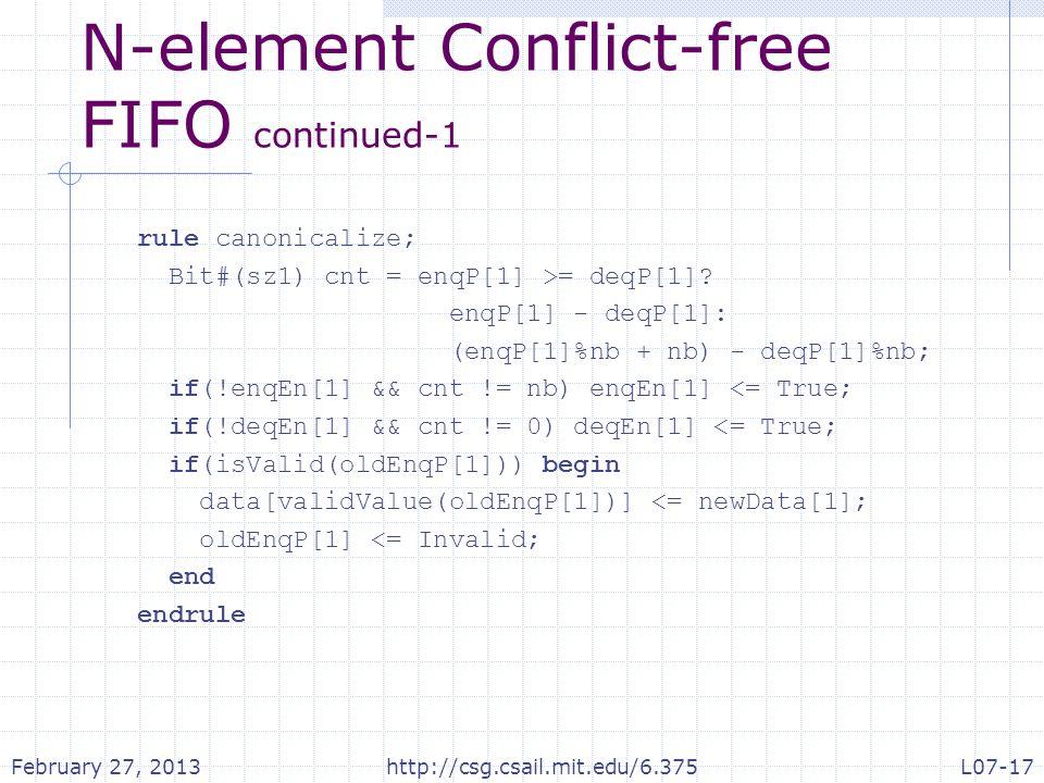 N-element Conflict-free FIFO continued-1 rule canonicalize; Bit#(sz1) cnt = enqP[1] >= deqP[1].