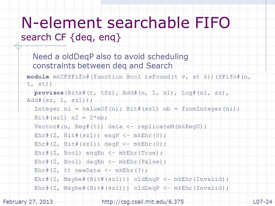 N-element searchable FIFO search CF {deq, enq} module mkCFSFifo#(function Bool isFound(t v, st k))(SFifo#(n, t, st)) provisos(Bits#(t, tSz), Add#(n, 1, n1), Log#(n1, sz), Add#(sz, 1, sz1)); Integer ni = valueOf(n); Bit#(sz1) nb = fromInteger(ni); Bit#(sz1) n2 = 2*nb; Vector#(n, Reg#(t)) data <- replicateM(mkRegU); Ehr#(2, Bit#(sz1)) enqP <- mkEhr(0); Ehr#(2, Bit#(sz1)) deqP <- mkEhr(0); Ehr#(2, Bool) enqEn <- mkEhr(True); Ehr#(2, Bool) deqEn <- mkEhr(False); Ehr#(2, t) newData <- mkEhr(?); Ehr#(2, Maybe#(Bit#(sz1))) oldEnqP <- mkEhr(Invalid); Ehr#(2, Maybe#(Bit#(sz1))) oldDeqP <- mkEhr(Invalid); Need a oldDeqP also to avoid scheduling constraints between deq and Search February 27, 2013http://csg.csail.mit.edu/6.375L07-24