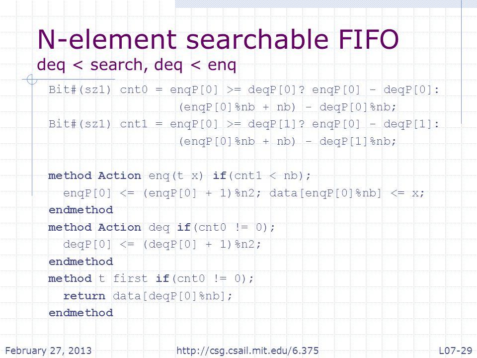 N-element searchable FIFO deq < search, deq < enq Bit#(sz1) cnt0 = enqP[0] >= deqP[0].