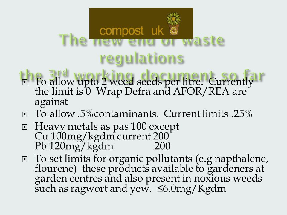  To allow upto 2 weed seeds per litre.