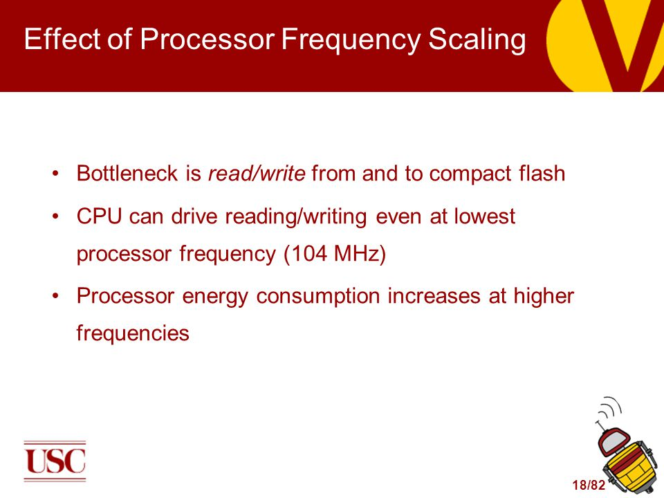 18/82 Effect of Processor Frequency Scaling Bottleneck is read/write from and to compact flash CPU can drive reading/writing even at lowest processor