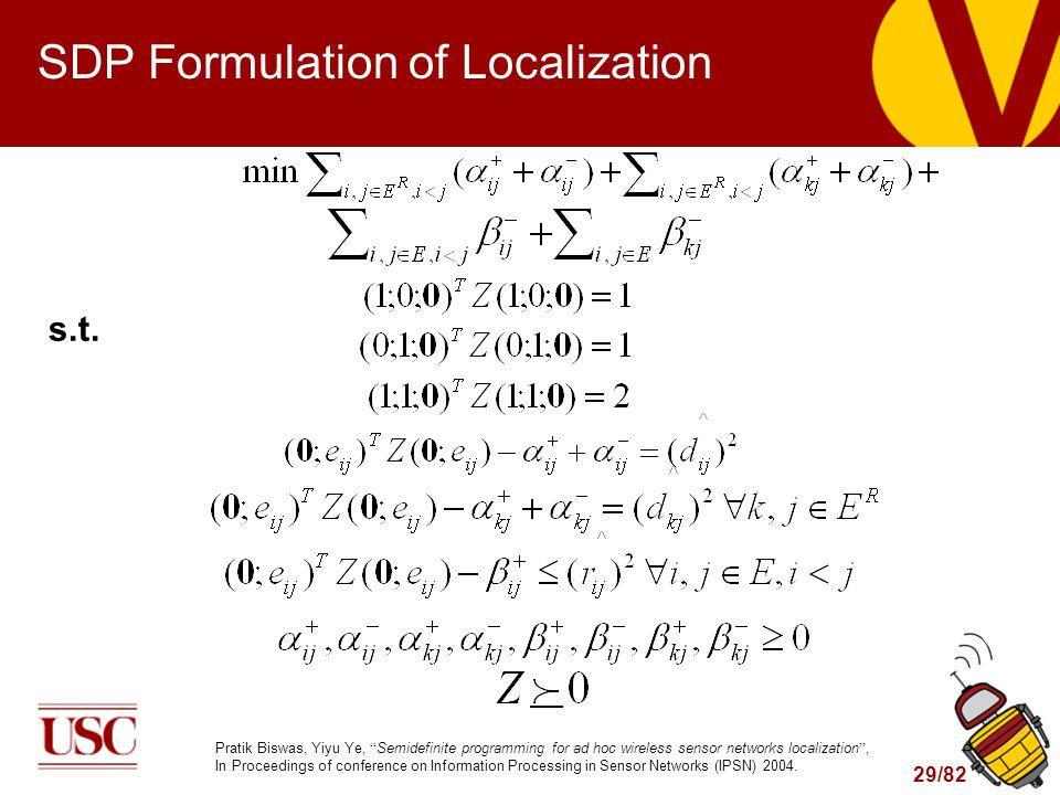 29/82 SDP Formulation of Localization s.t.