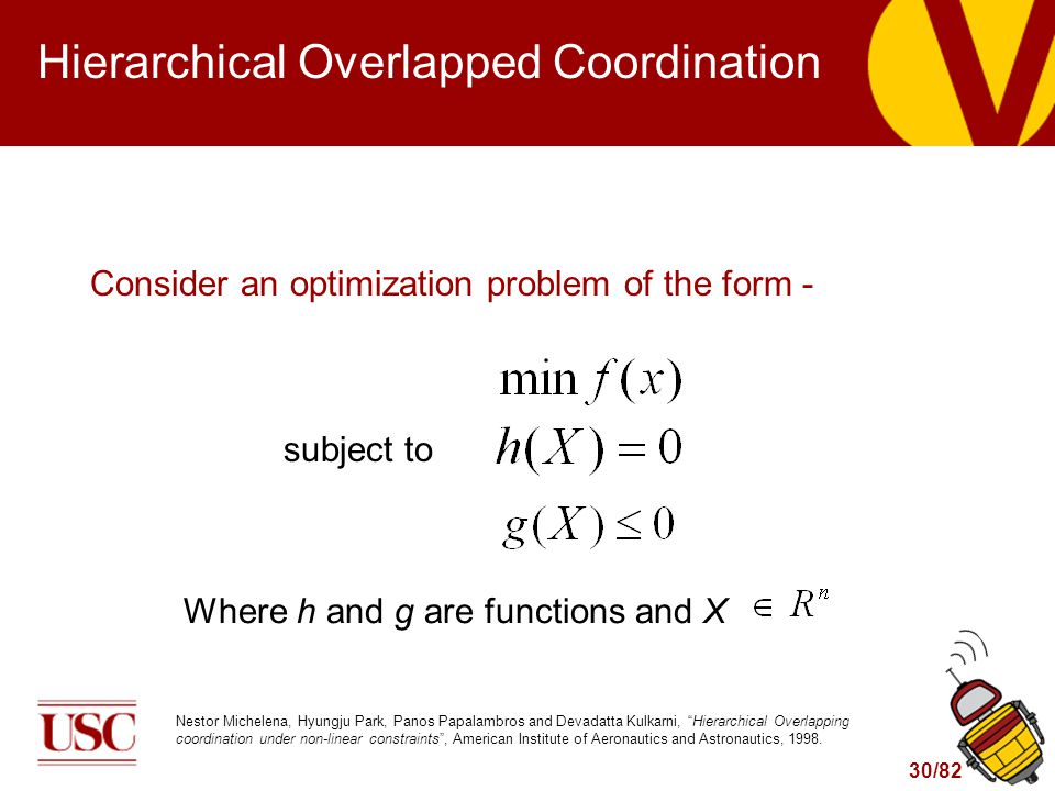 30/82 Hierarchical Overlapped Coordination Consider an optimization problem of the form - subject to Where h and g are functions and X Nestor Michelena, Hyungju Park, Panos Papalambros and Devadatta Kulkarni, Hierarchical Overlapping coordination under non-linear constraints , American Institute of Aeronautics and Astronautics, 1998.